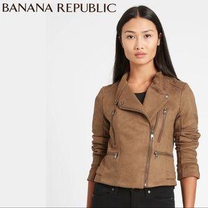 Banana Republic Brown Vegan Suede Biker Jacket NWT